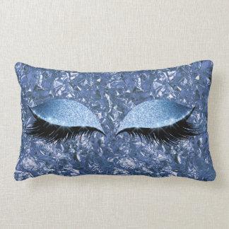 Aluminium Metallic Winkled Blue Makeup Eye Lashes Lumbar Pillow
