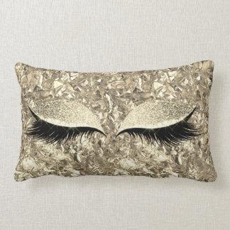 Aluminium Metallic Winkled Gold Makeup Eye Lashes Lumbar Pillow