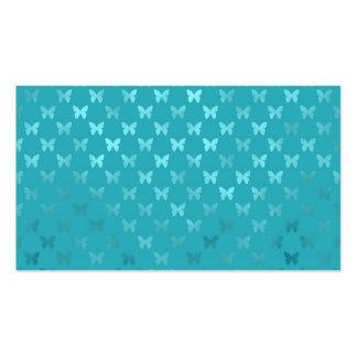 Aluminium métallique de Faux de papillon bleu Carte De Visite Standard