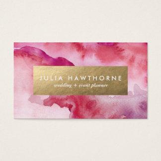 Aluminium rose de Faux d'aquarelle et d'or Cartes De Visite