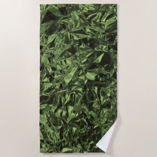 Aluminum Foil Design in Moss Green Beach Towel