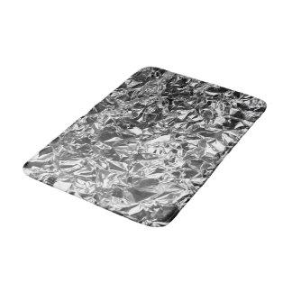 Aluminum Foil Design Silver Color Bath Mat