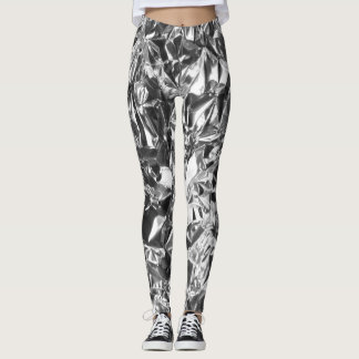 Aluminum Foil Design Silver Color Leggings