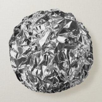 Aluminum Foil Design Silver Color Round Pillow