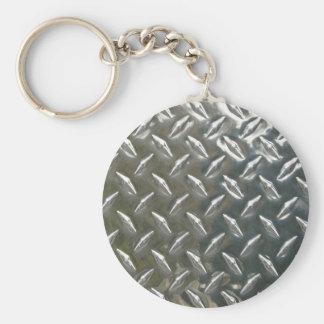 Aluminum Metal Checkerplate Keychain