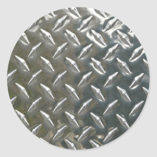Aluminum Metal Checkerplate Round Sticker