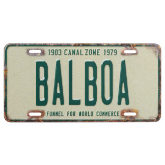 Aluminum Panama Canal Zone Plates: Balboa License Plate