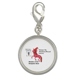 Alumna with Herd Info - Round Silver Plated Charm