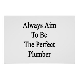 Always Aim To Be The Perfect Plumber Poster