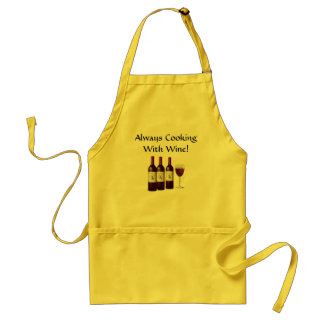 ALWAYS COOKING WITH WINE Bottle Glass Chef Standard Apron