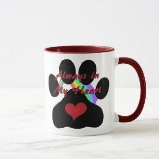 Always in My Heart Cat Paw Print Combo Mug