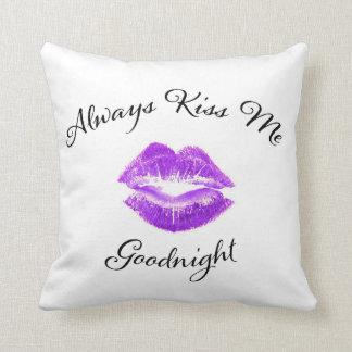 Always Kiss Me Goodnight - Purple Lips Throw Pillow