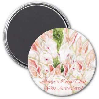 Always Know That You Are Loved -White Rabbits 3 Inch Round Magnet