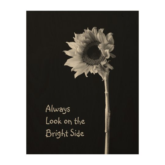 """'Always Look on the Bright Side"""" Floral Portrait Wood Wall Decor"""