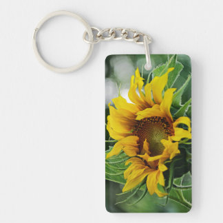 """Always Look on the Bright Side of Life"" Sunflower Double-Sided Rectangular Acrylic Keychain"