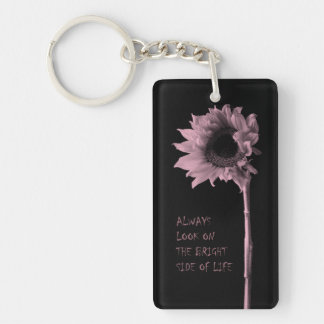 """Always Look on the Bright Side of Life"" Sunflower Single-Sided Rectangular Acrylic Keychain"