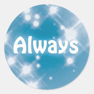 Always on a Blue Star Pattern Classic Round Sticker