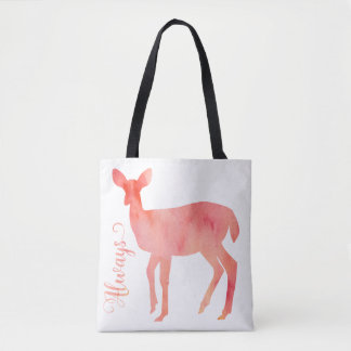 Always Pink Watercolor Doe Deer Tote Bag