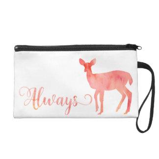 Always Pink Watercolor Doe Deer Wristlet