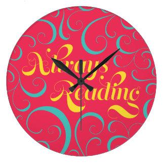 Always Reading Bright Pink Blue Yellow Swirls Wall Clocks