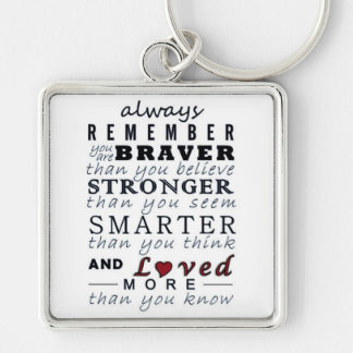 Always Remember Silver-Colored Square Keychain