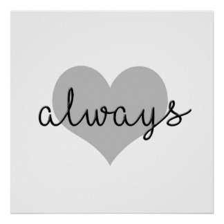 always simple modern heart black white poster