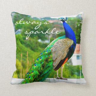 """Always sparkle"" blue & green peacock photo pillow"