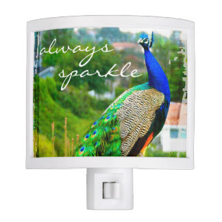 """Always sparkle"" blue peacock photo night light"