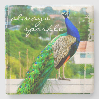 """Always sparkle"" blue peacock photo stone coaster"