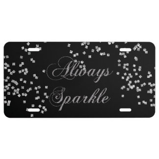 Always Sparkle Faux Silver Glitter License Plate
