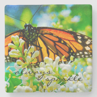 """Always Sparkle"" Orange Monarch Butterfly Photo Stone Coaster"