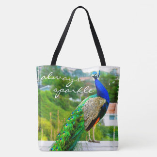 """""""Always sparkle"""" quote blue green peacock photo Tote Bag"""