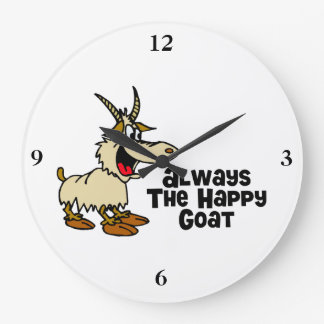 Always The Happy Goat Large Clock