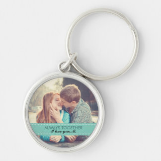 Always Together Modern Custom Photo Romantic Silver-Colored Round Keychain