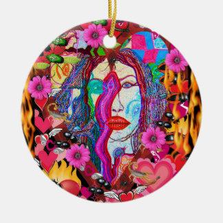 Alyce on Wonderland Round Ceramic Ornament