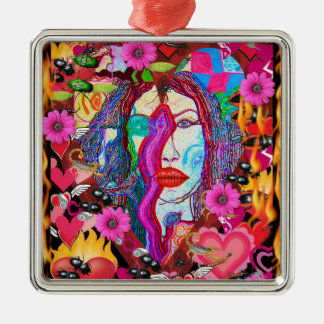 Alyce on Wonderland Silver-Colored Square Ornament