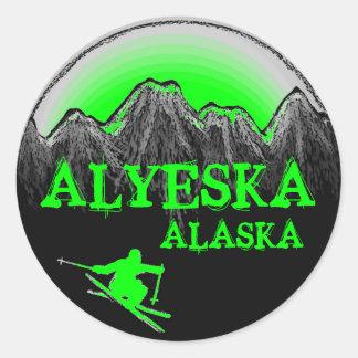 Alyeska Alaska green skier stickers