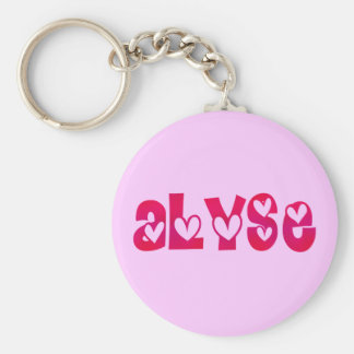 Alyse in Hearts Basic Round Button Keychain