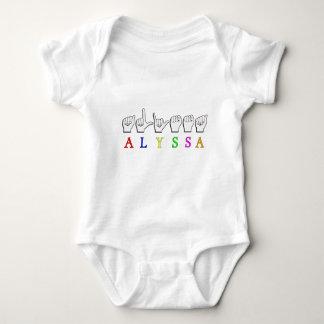 ALYSSA ASL FINGERSPELLED NAME SIGN DEAF BABY BODYSUIT