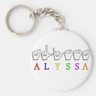 ALYSSA ASL FINGERSPELLED NAME SIGN DEAF KEYCHAIN