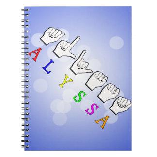 ALYSSA ASL FINGERSPELLED NAME SIGN DEAF NOTEBOOKS