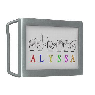 ALYSSA ASL FINGERSPELLED NAME SIGN DEAF RECTANGULAR BELT BUCKLE