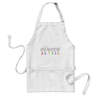 ALYSSA ASL FINGERSPELLED NAME SIGN DEAF STANDARD APRON