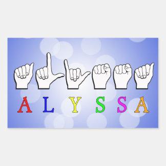 ALYSSA ASL FINGERSPELLED NAME SIGN DEAF STICKER