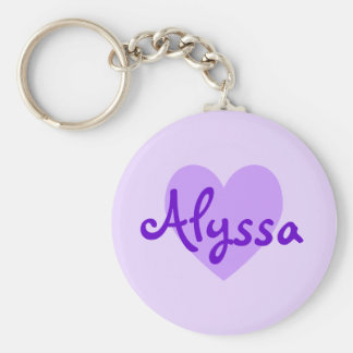 Alyssa in Purple Basic Round Button Keychain