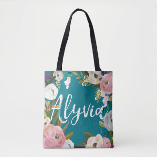 Alyvia Brushed Floral Wedding Party  Custom Name Tote Bag