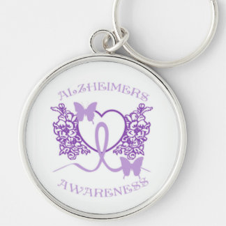 Alzheimers Awareness Purple Butterflies Key Chain4 Silver-Colored Round Keychain