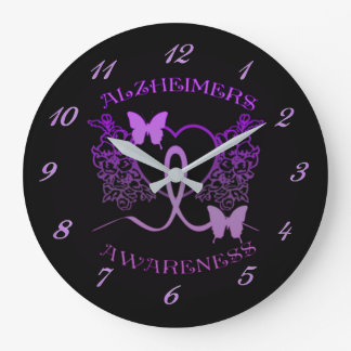 Alzheimers Awareness Purple Butterflies Wall Clock