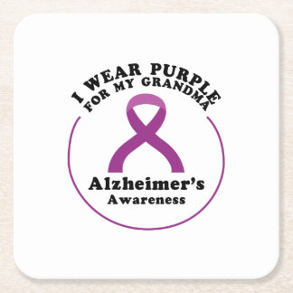 Alzheimers Awareness Wear For My Grandma Gift Square Paper Coaster