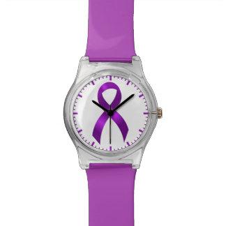 Alzheimers | Crohns & Colitis | Purple Ribbon Wristwatch